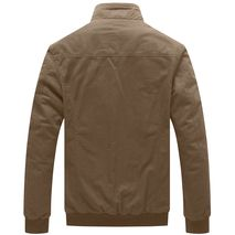 Men's Casual Spring Jacket Washed Cotton Military Jacket Canvas Lightweight